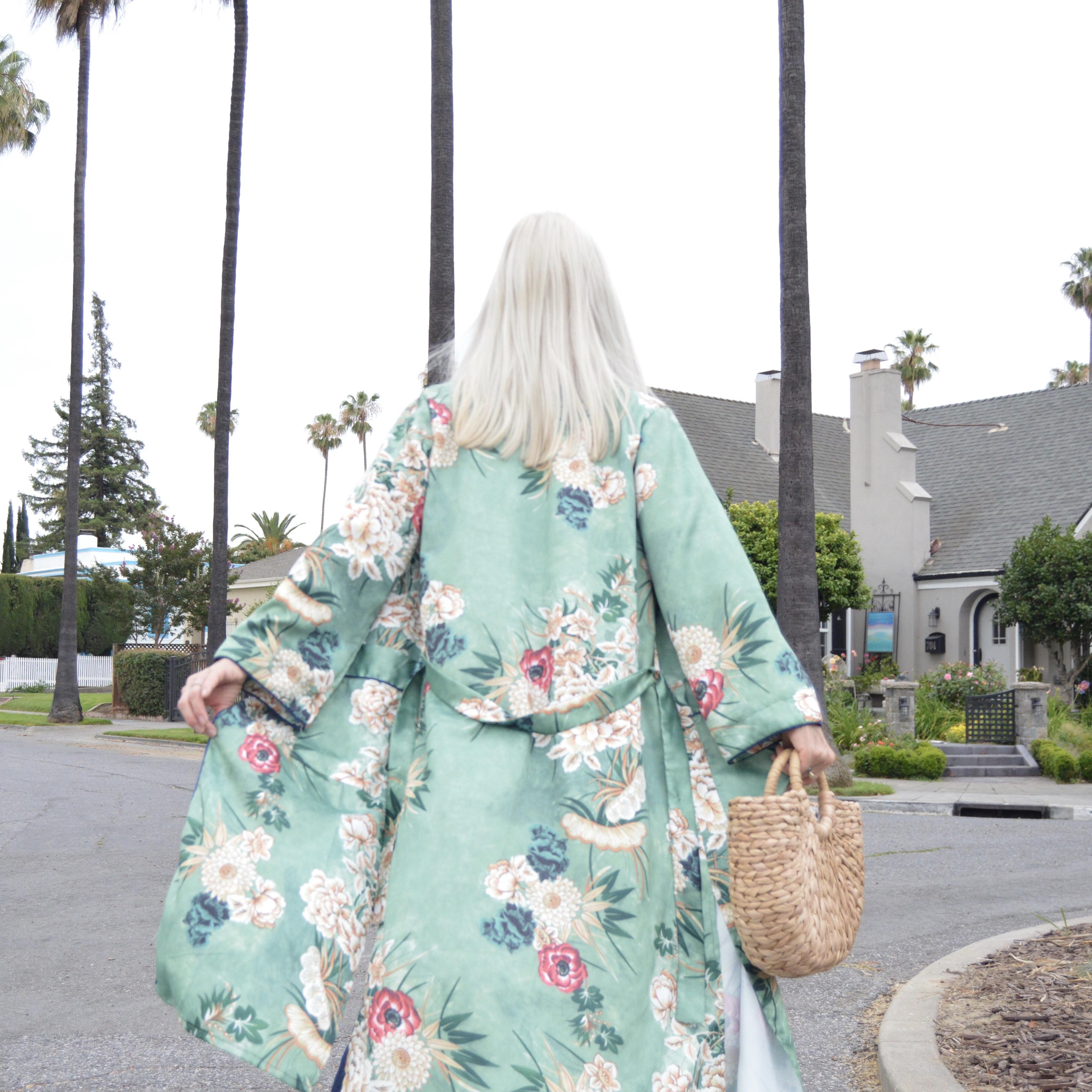 mint green floral kimono