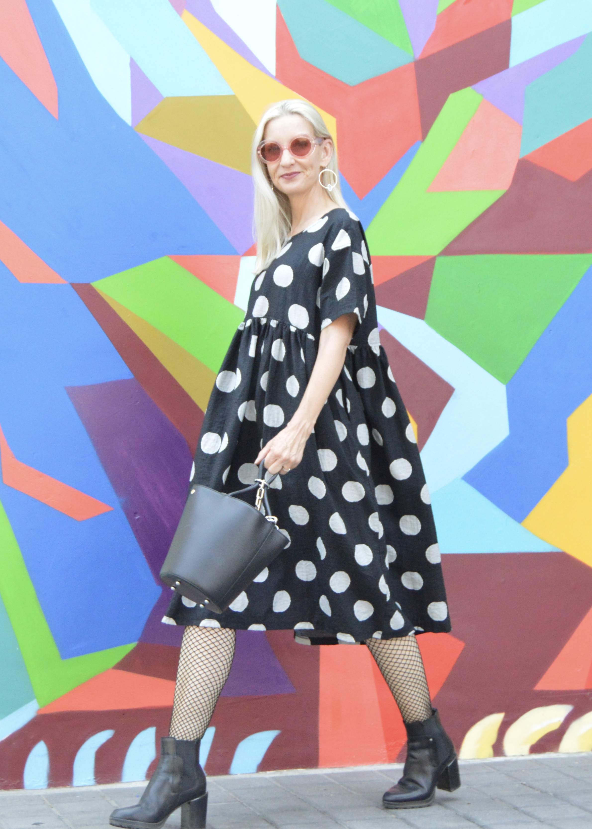 fun polka dot dress, funky over 50