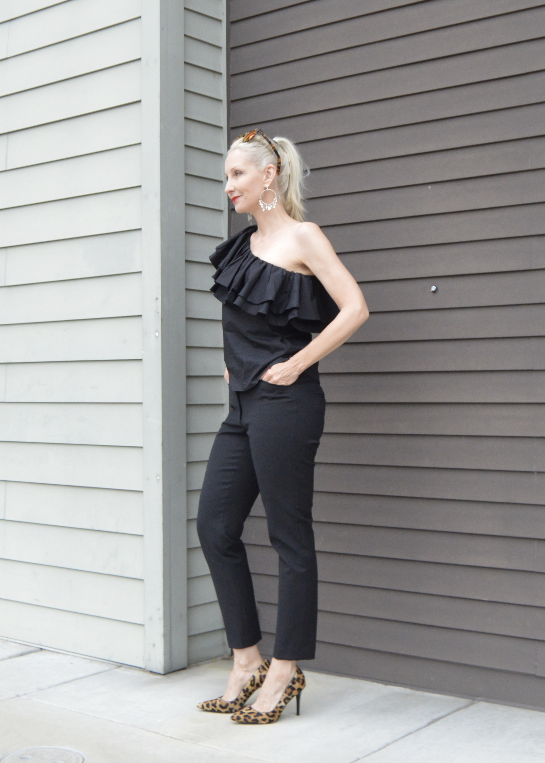 ruffle one shoulder top over 40