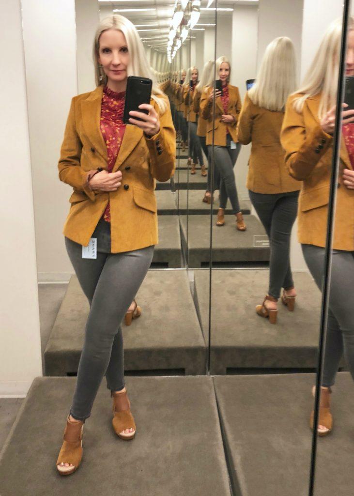 Cordoroy jacket, floral blouse