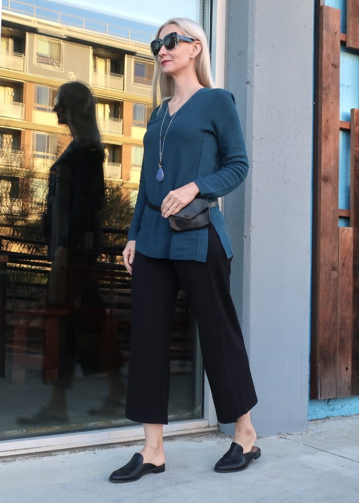 J.Jill outfit, slides and belt bag