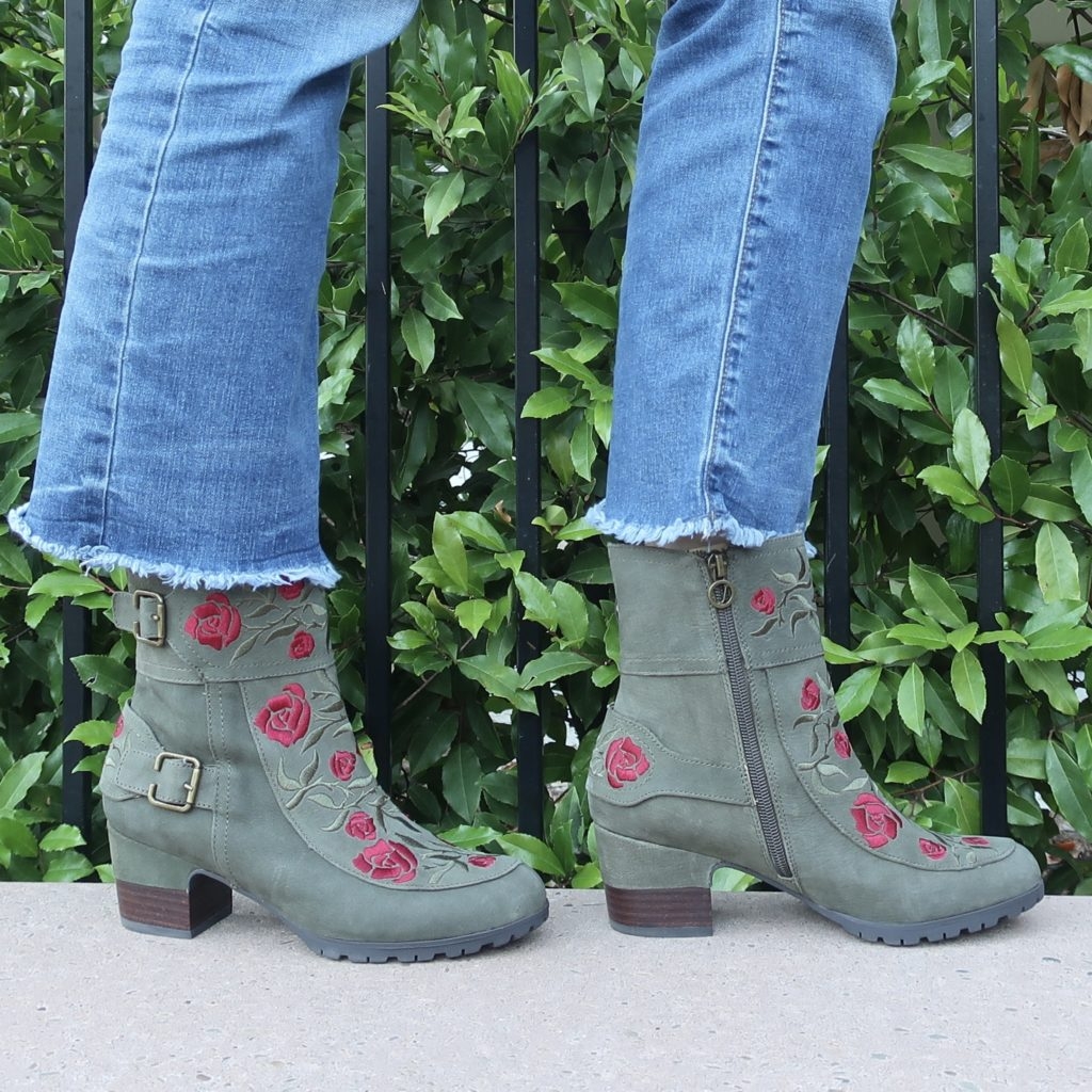 suede and embroidered comfortable booties
