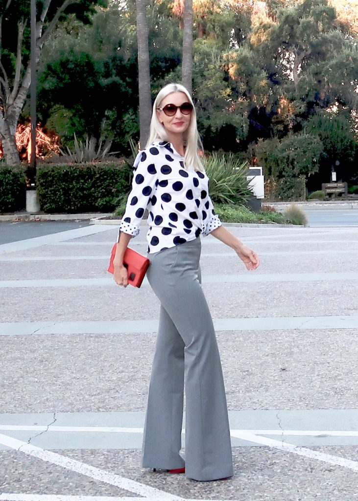 polka dots and flattering pants, slimming pants for women over 40