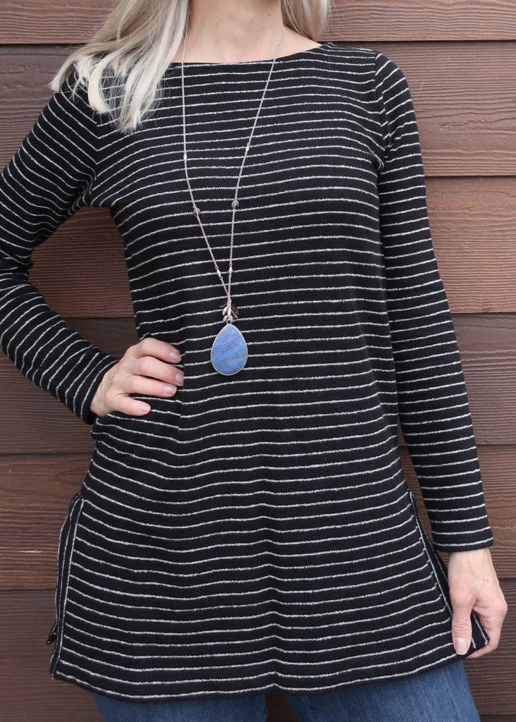 blue lapis pendant and striped sweater