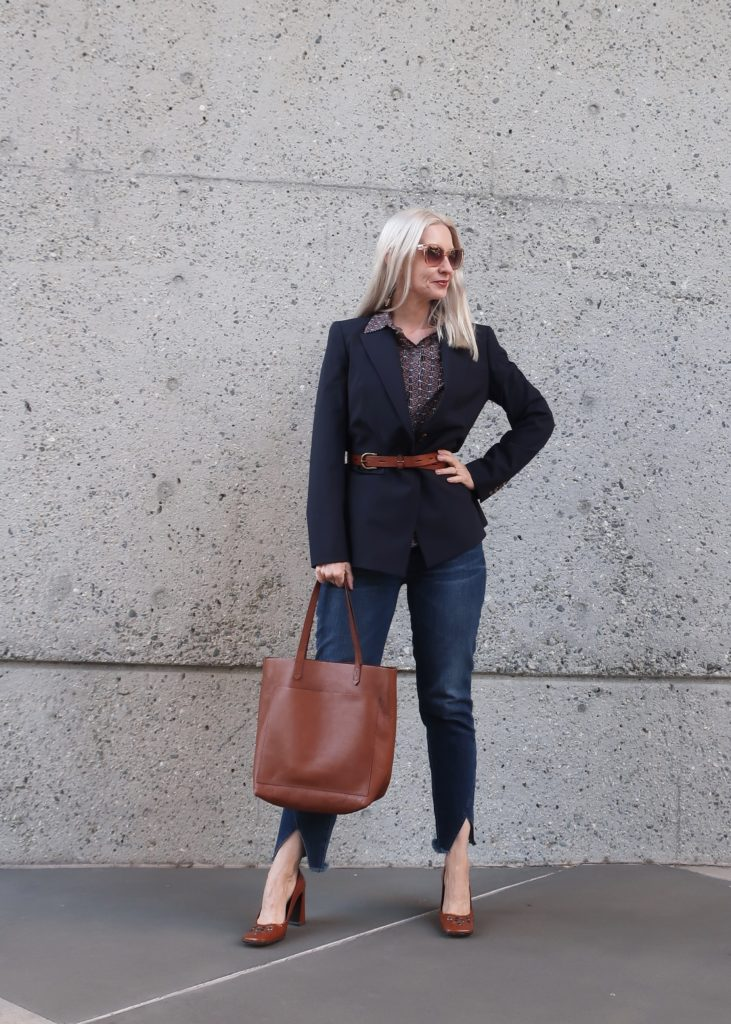 chic over 50, belting your blazer, trends to try over 40