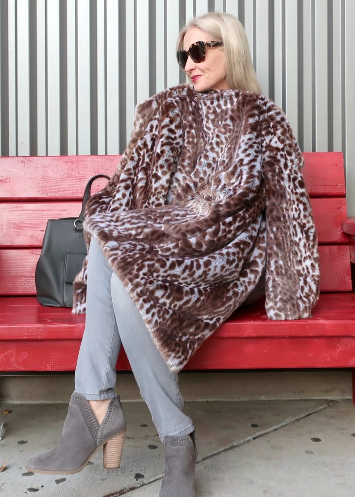 super soft warm animal print coat