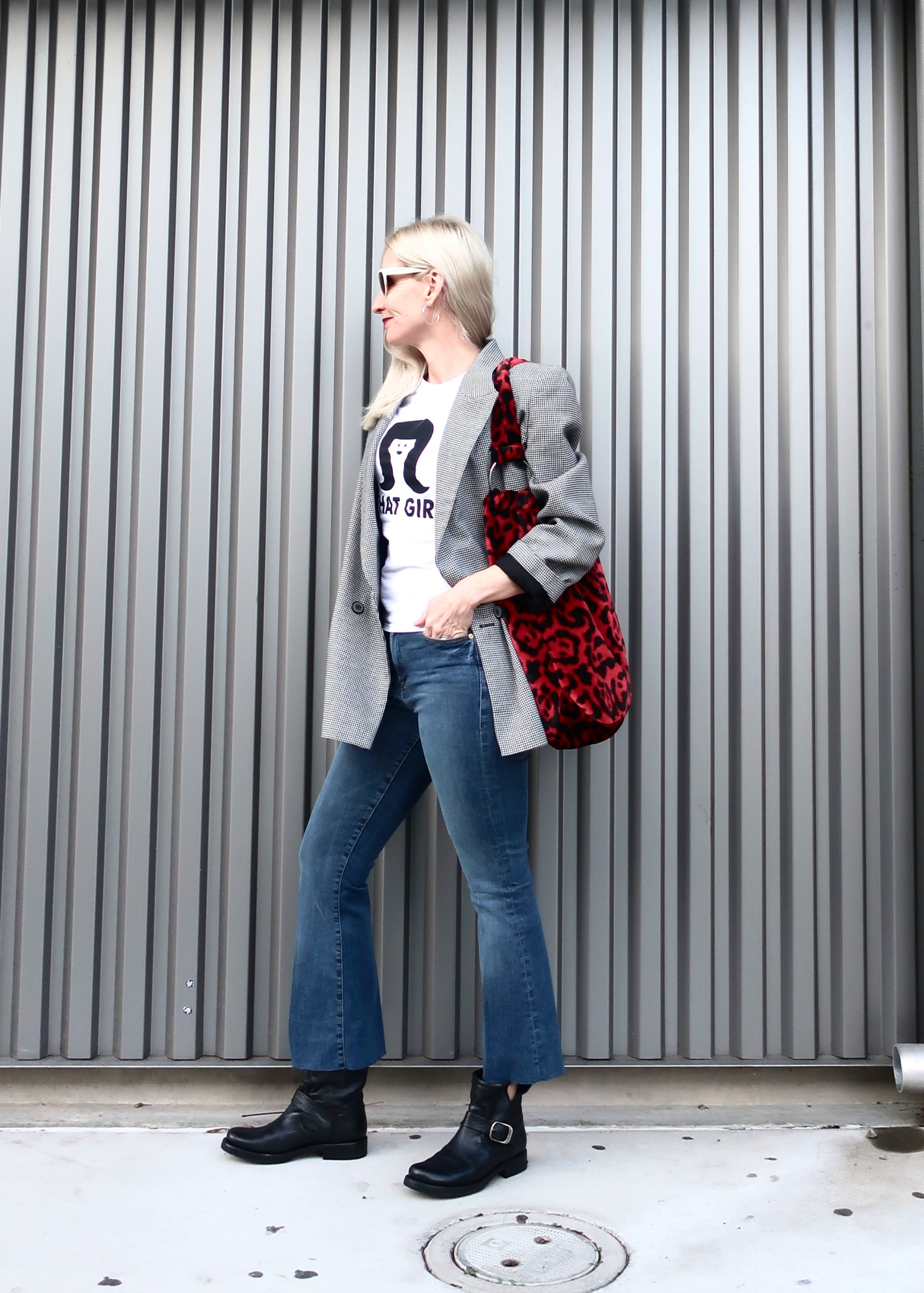 plaid blazer with graphic tee
