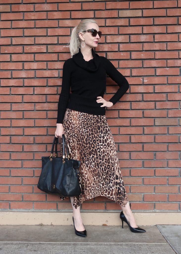 leopard midi skirt for women over 40