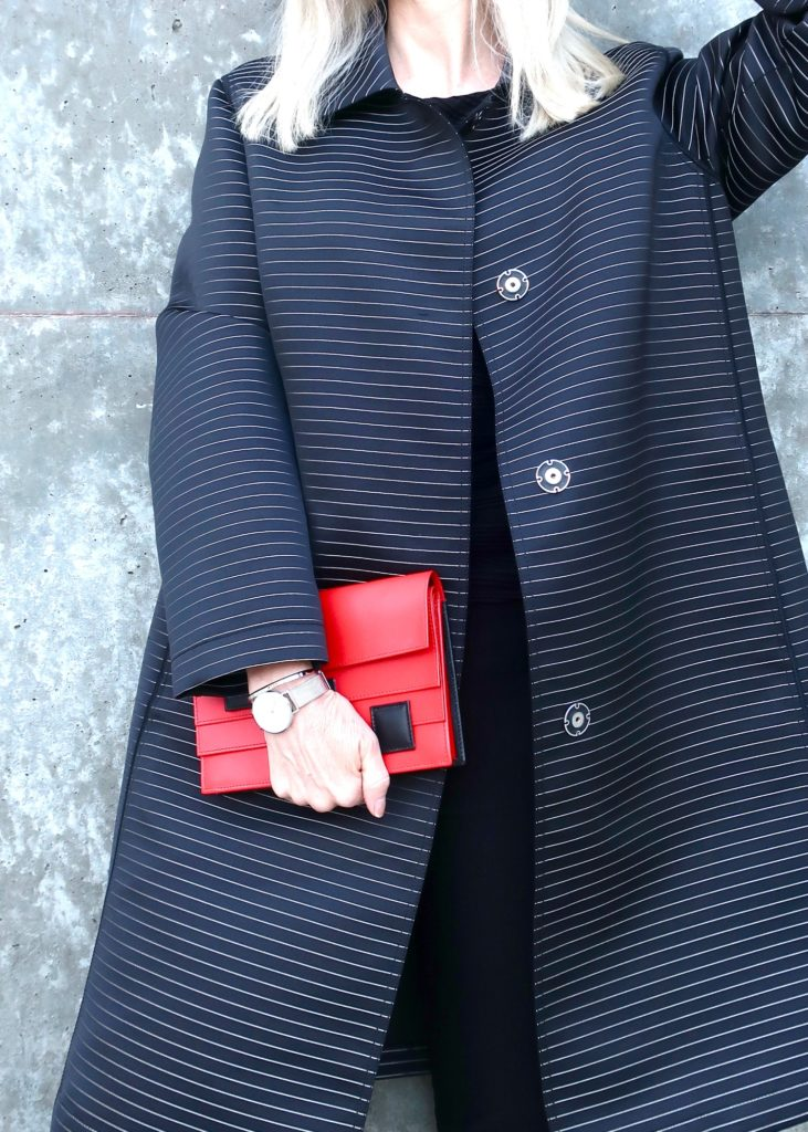 simple modern watch, red clutch