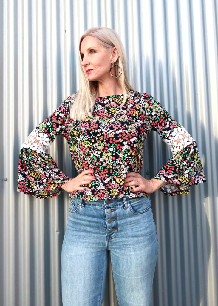 bell sleeves floral blouse
