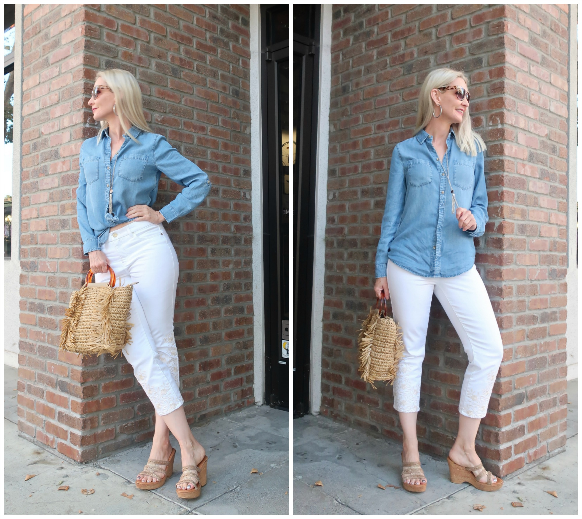 denim shirt and white pants for travel