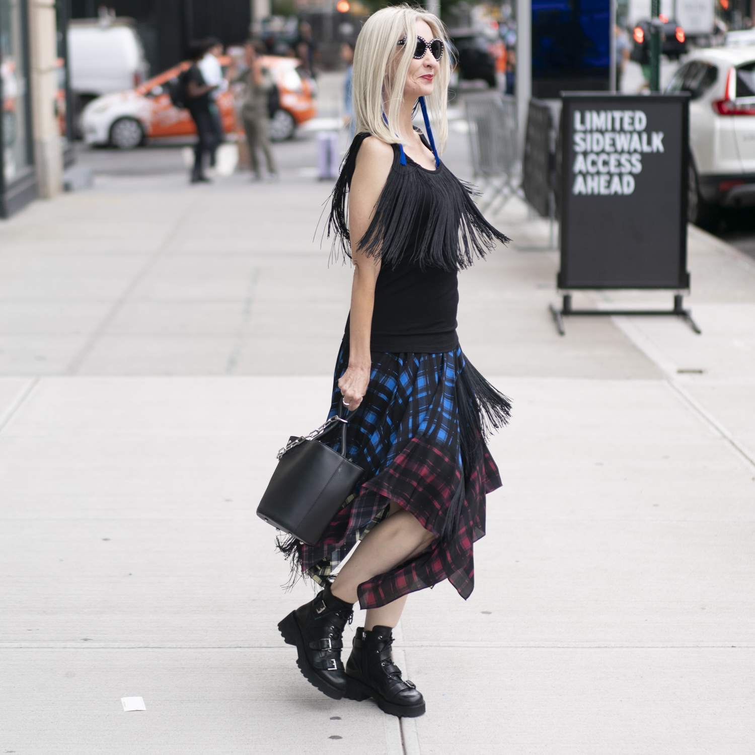 NYFW street style, fringe and combat boots