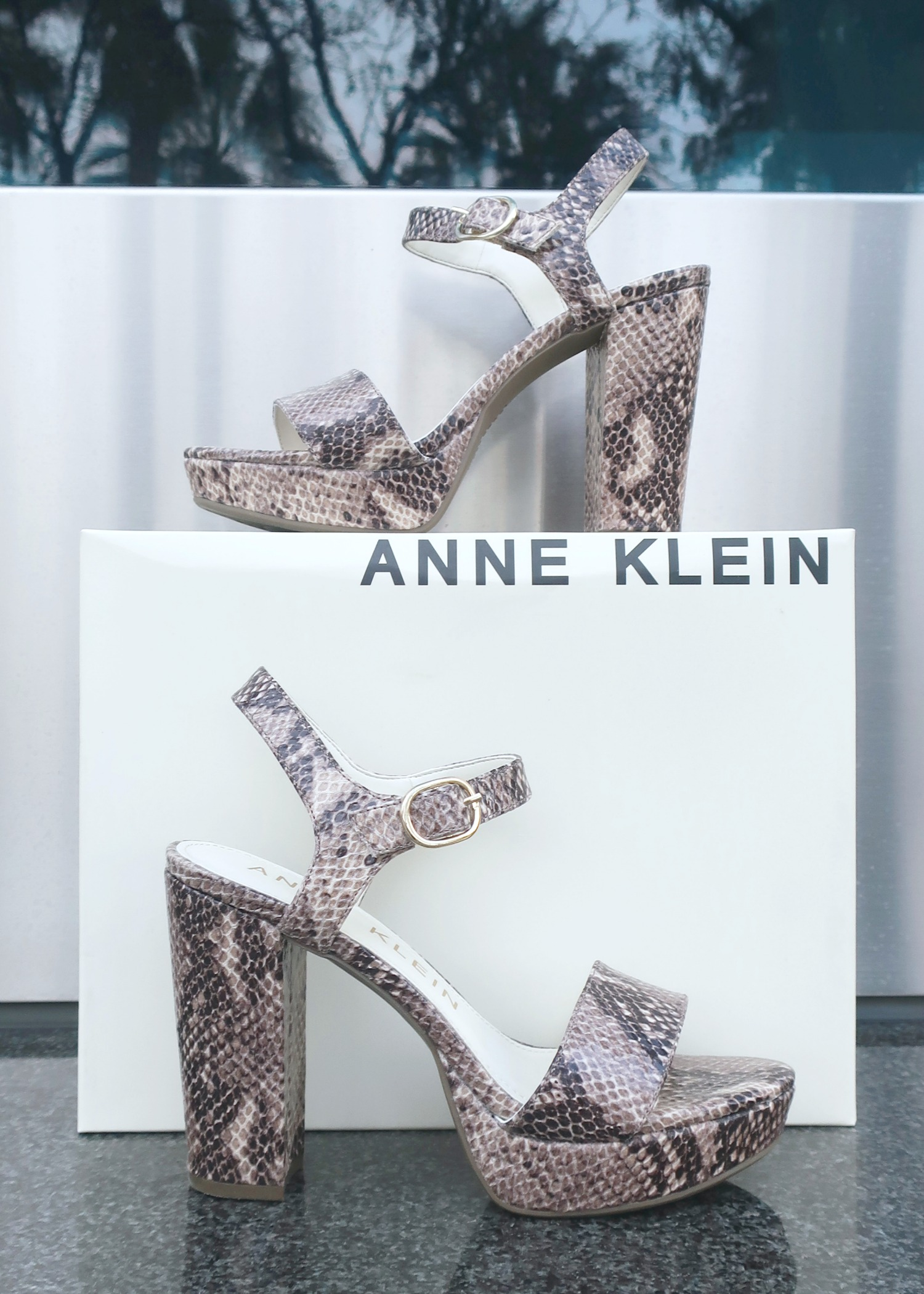 Anne Klein Snakeskin Effect Sandals