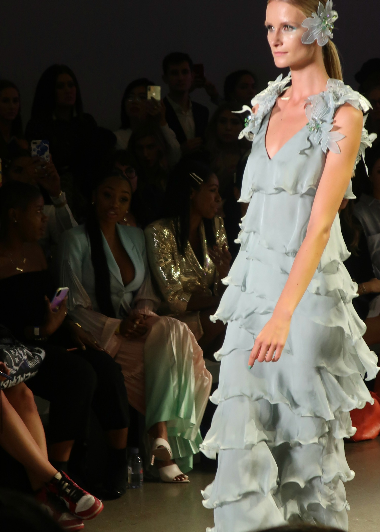mint green floral appliques and ruffles for spring 2020