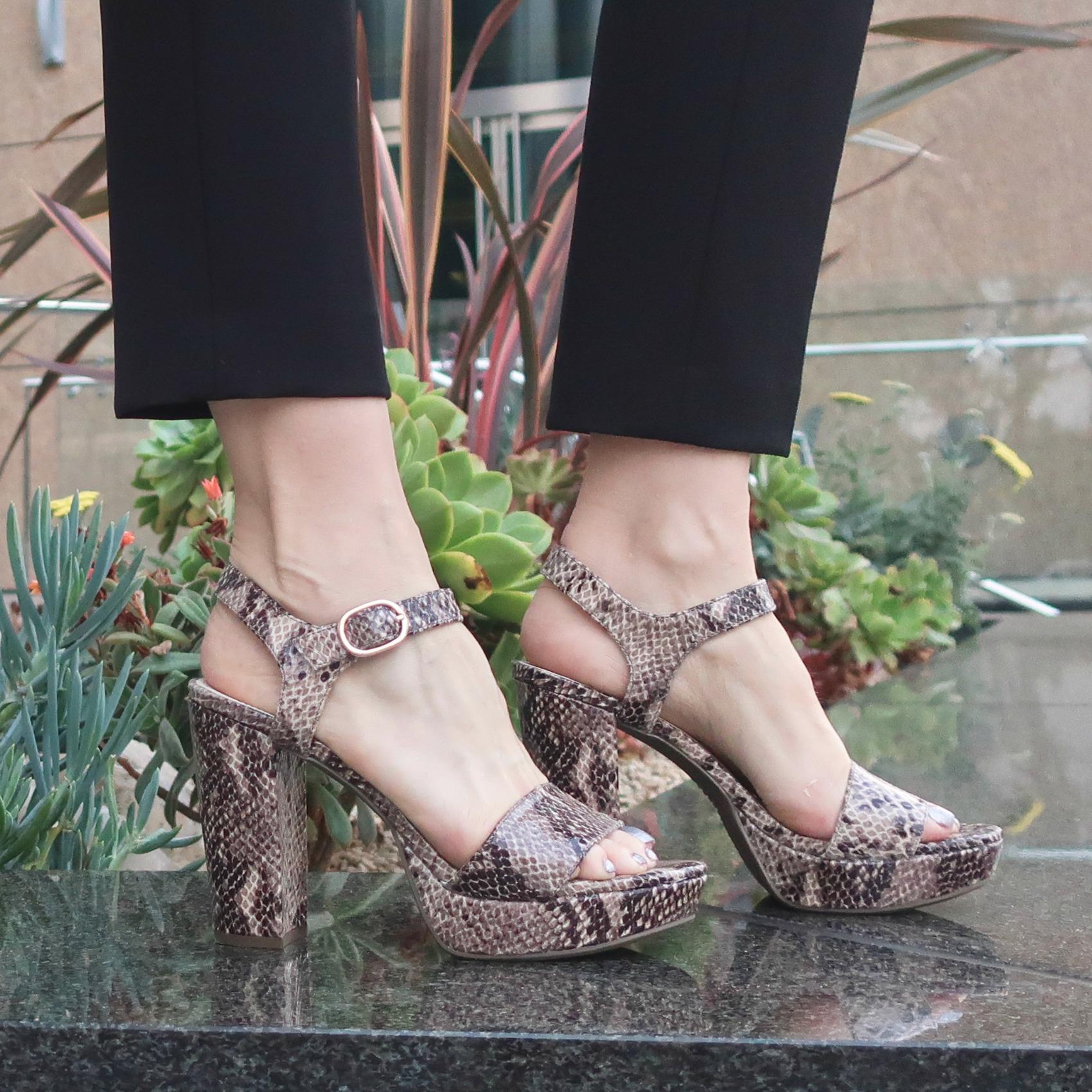 Anne Klein Ventura Snakeskin Platform Sandals