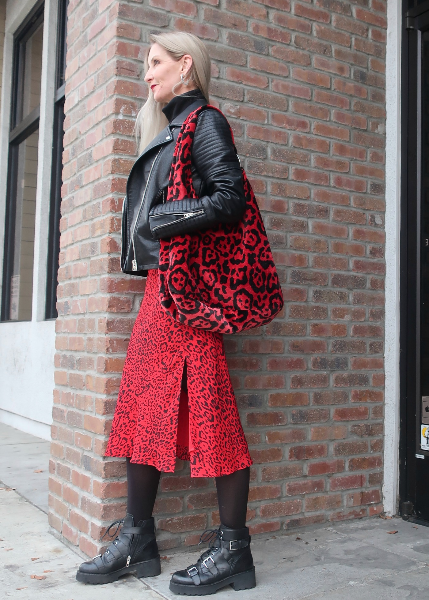 red leopard trend, a line leopard midi skirt