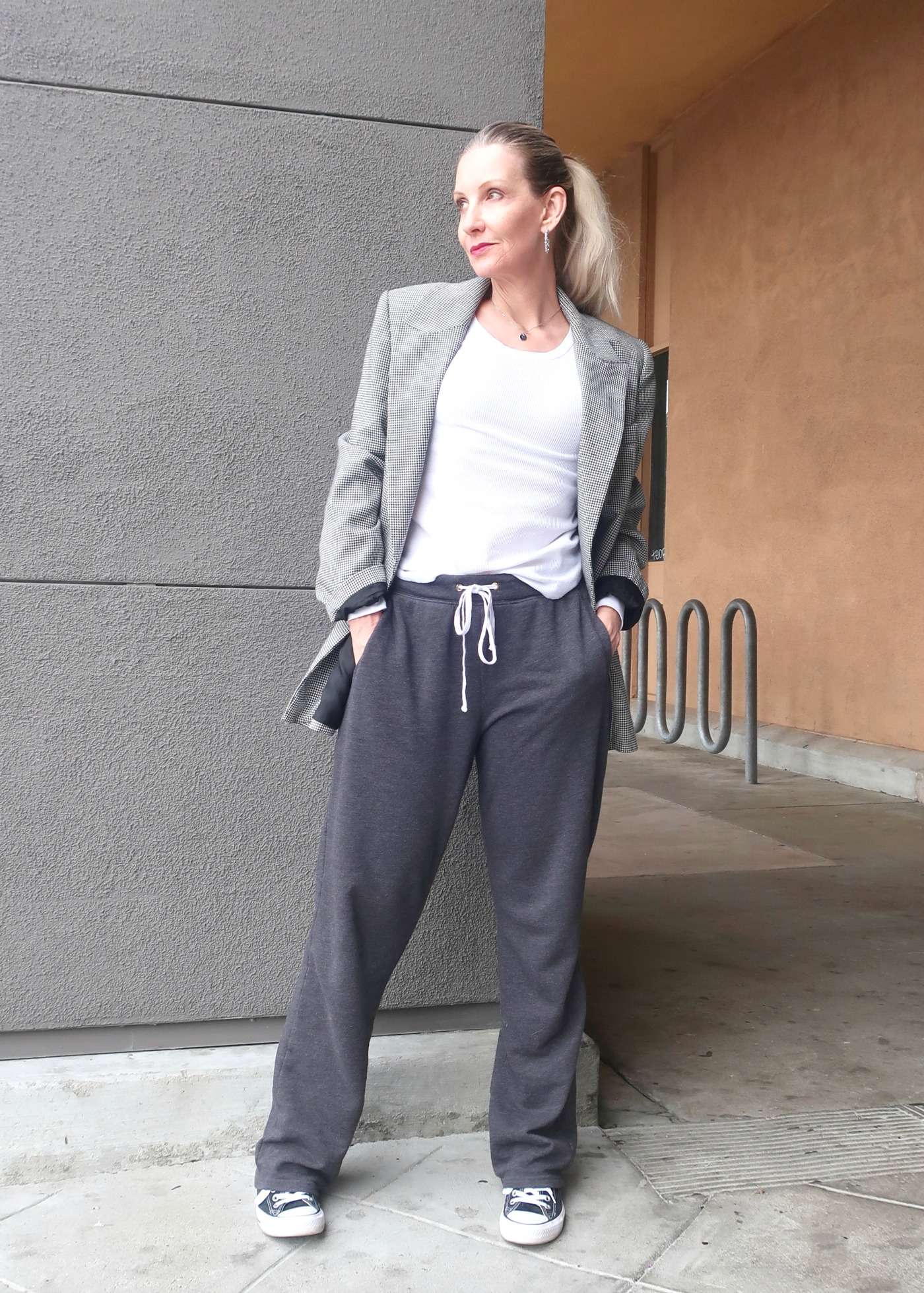 sweatpants with blazer
