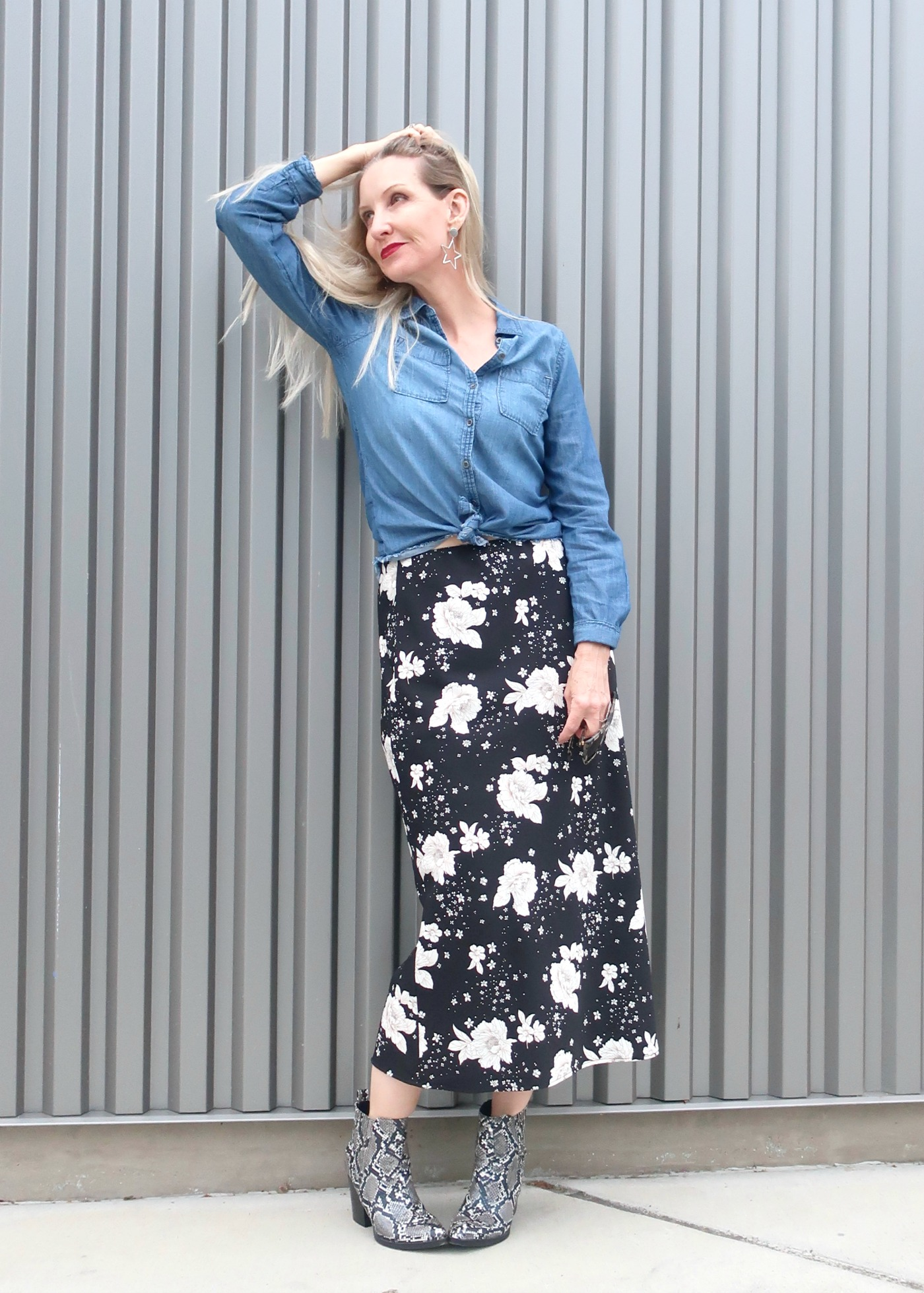 floral skirt, snake boots, chambray shirt