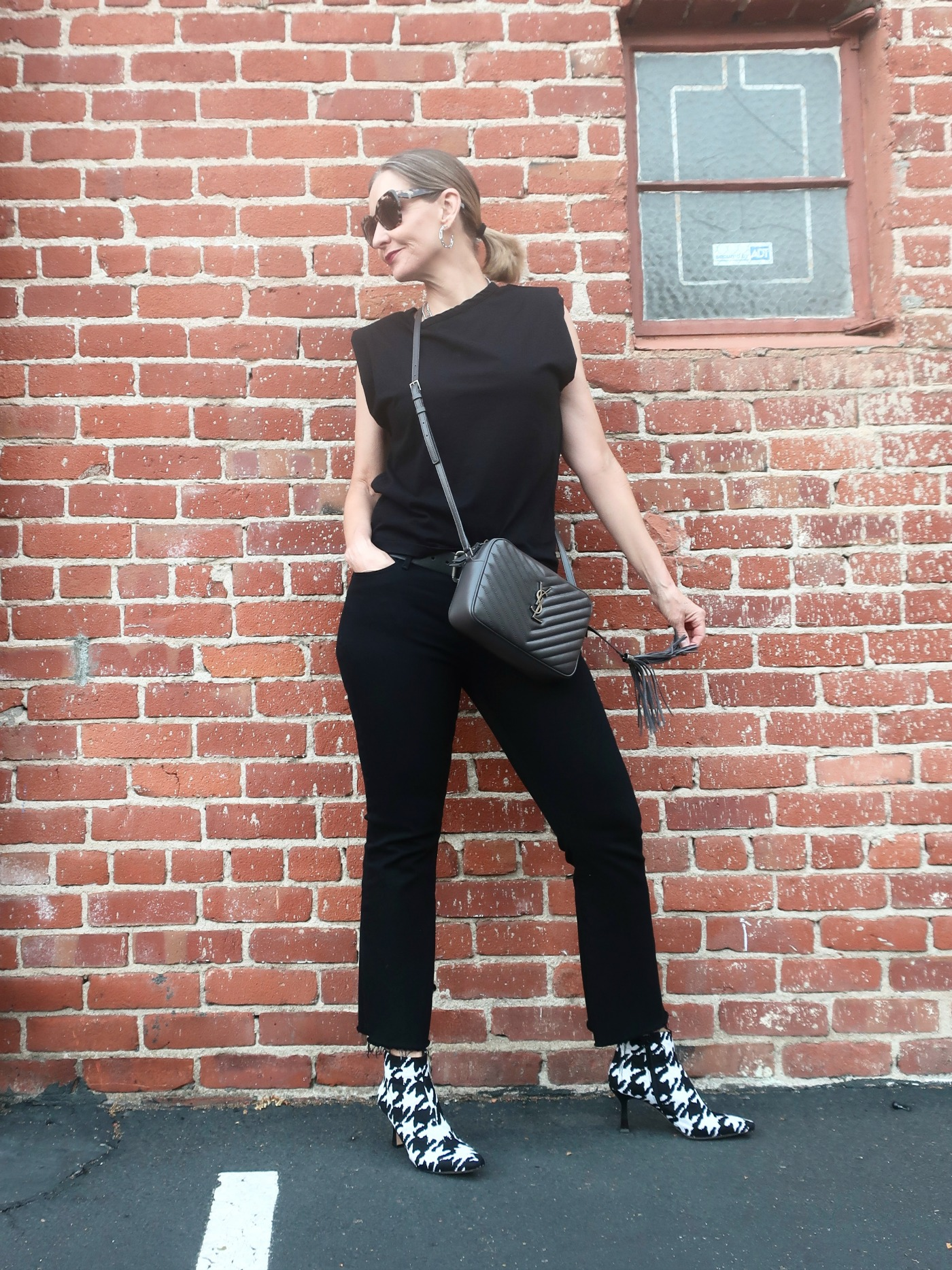 tank top with shoulder pads, houndstooth booties