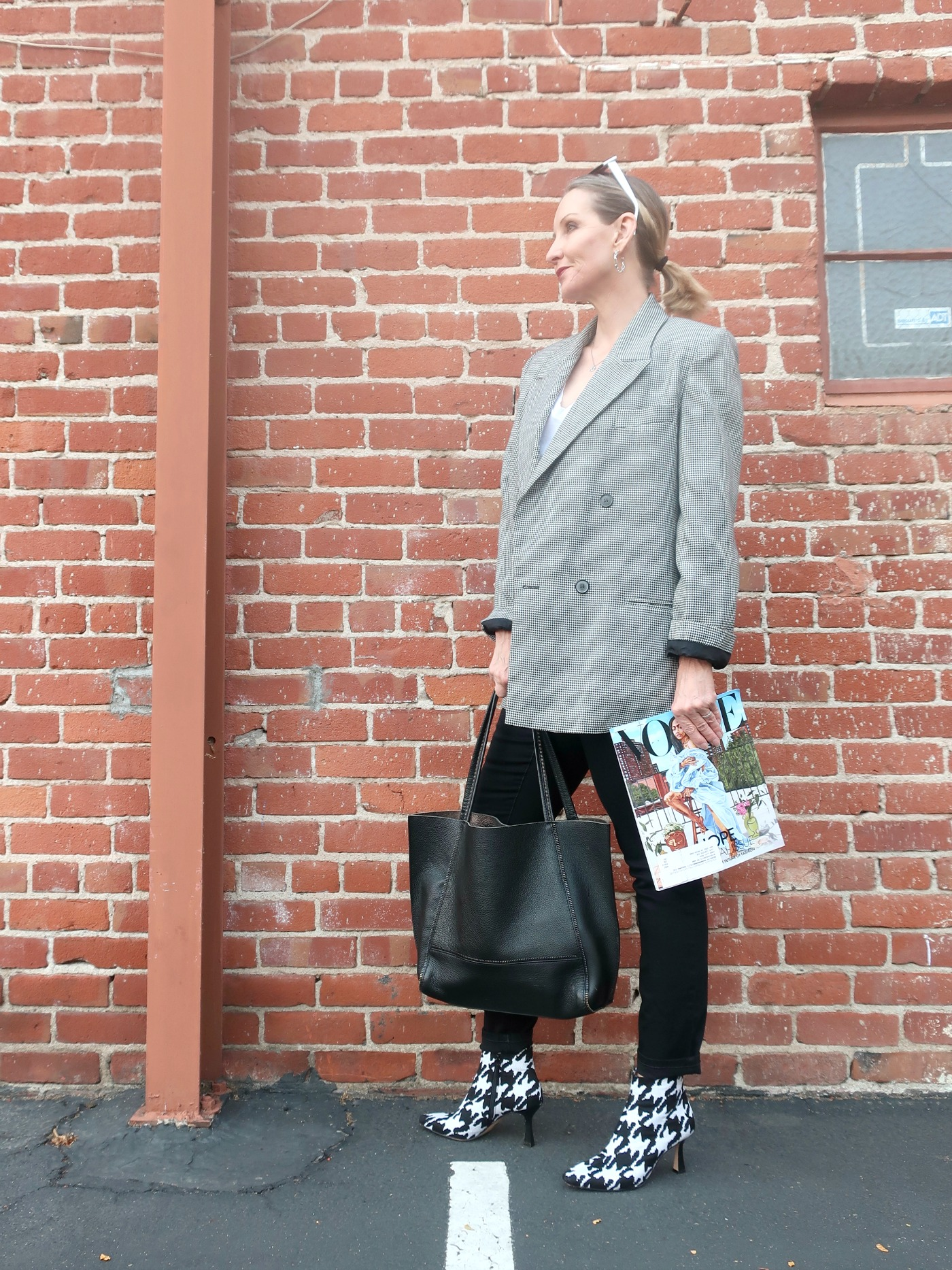 80's vintage jacket, houndstooth booties