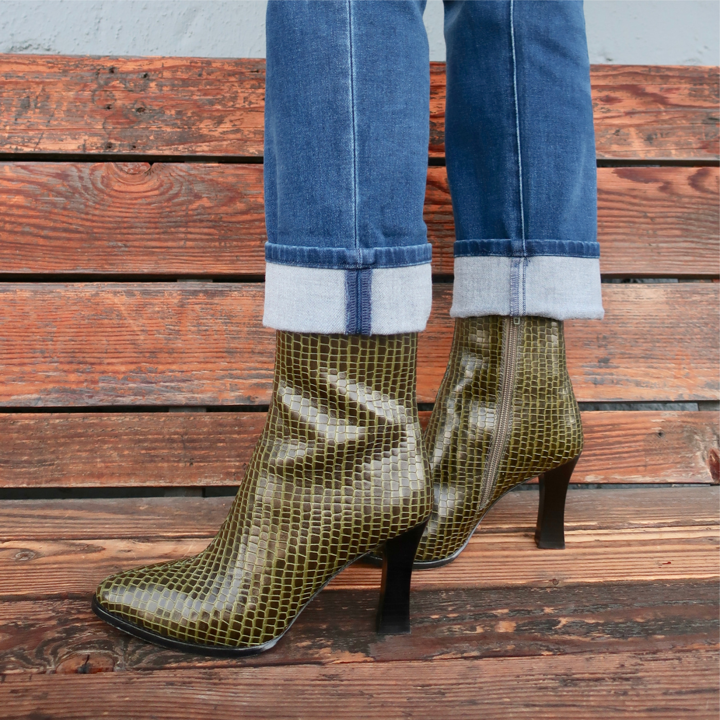 green texture booties for fall 2020