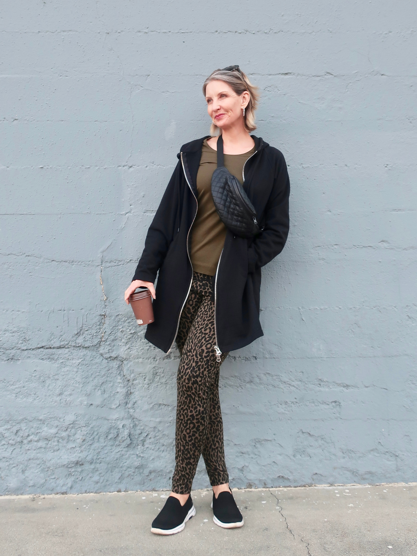 leopard leggings with slip on sneakers, easy weekend look