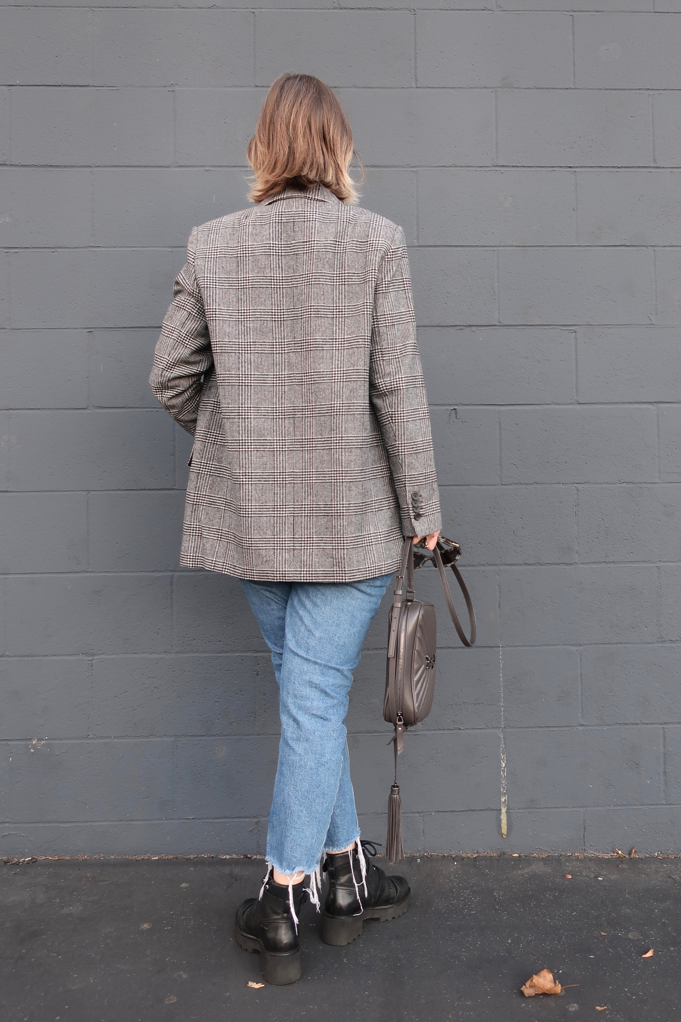 long plaid blazer, sustainable style
