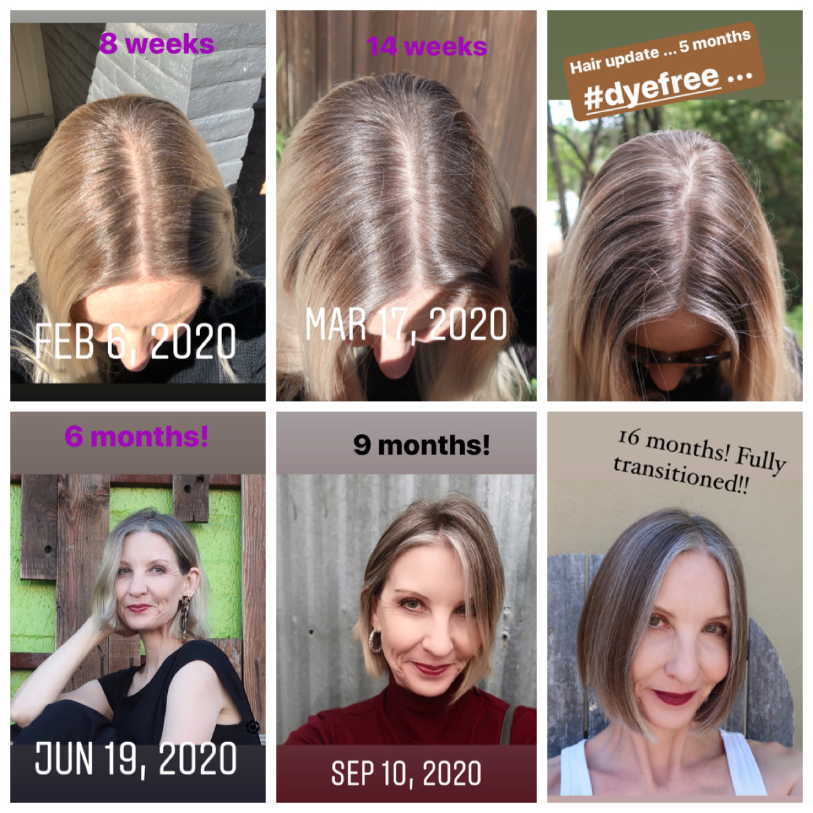 the stages of transitioning to gray hair