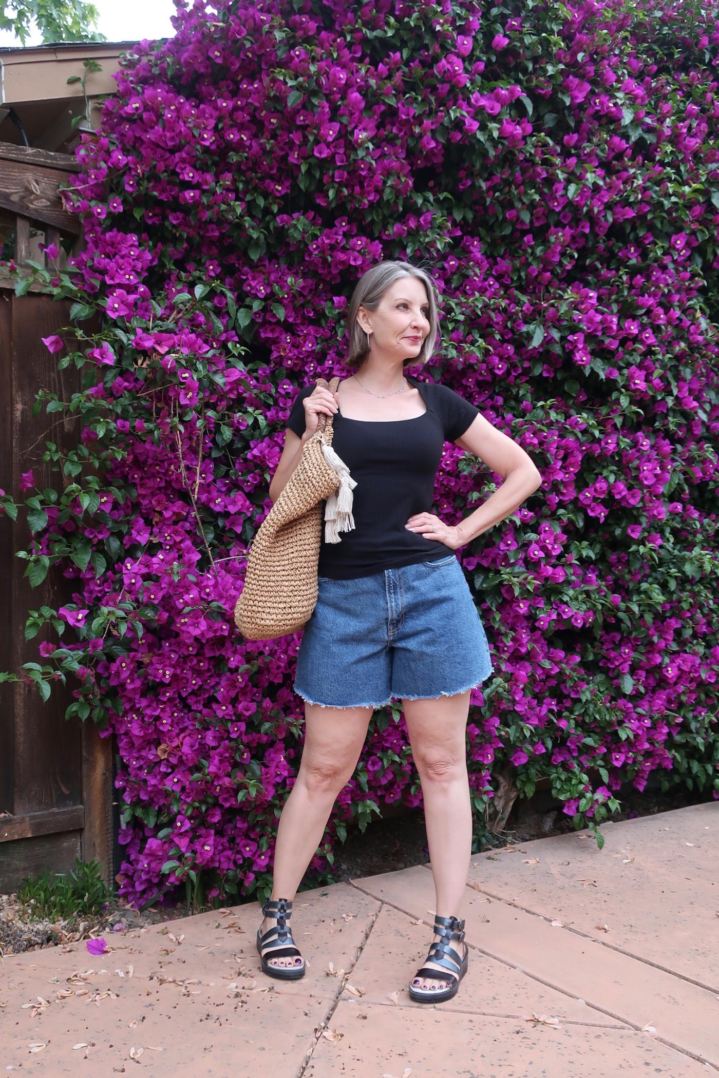 sustainable style, denim shorts