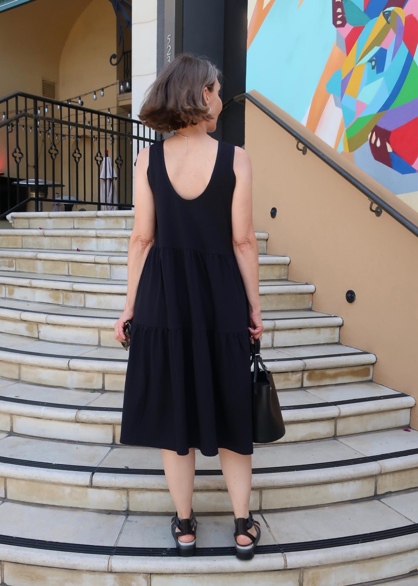 cute back interest, sundress, black dress