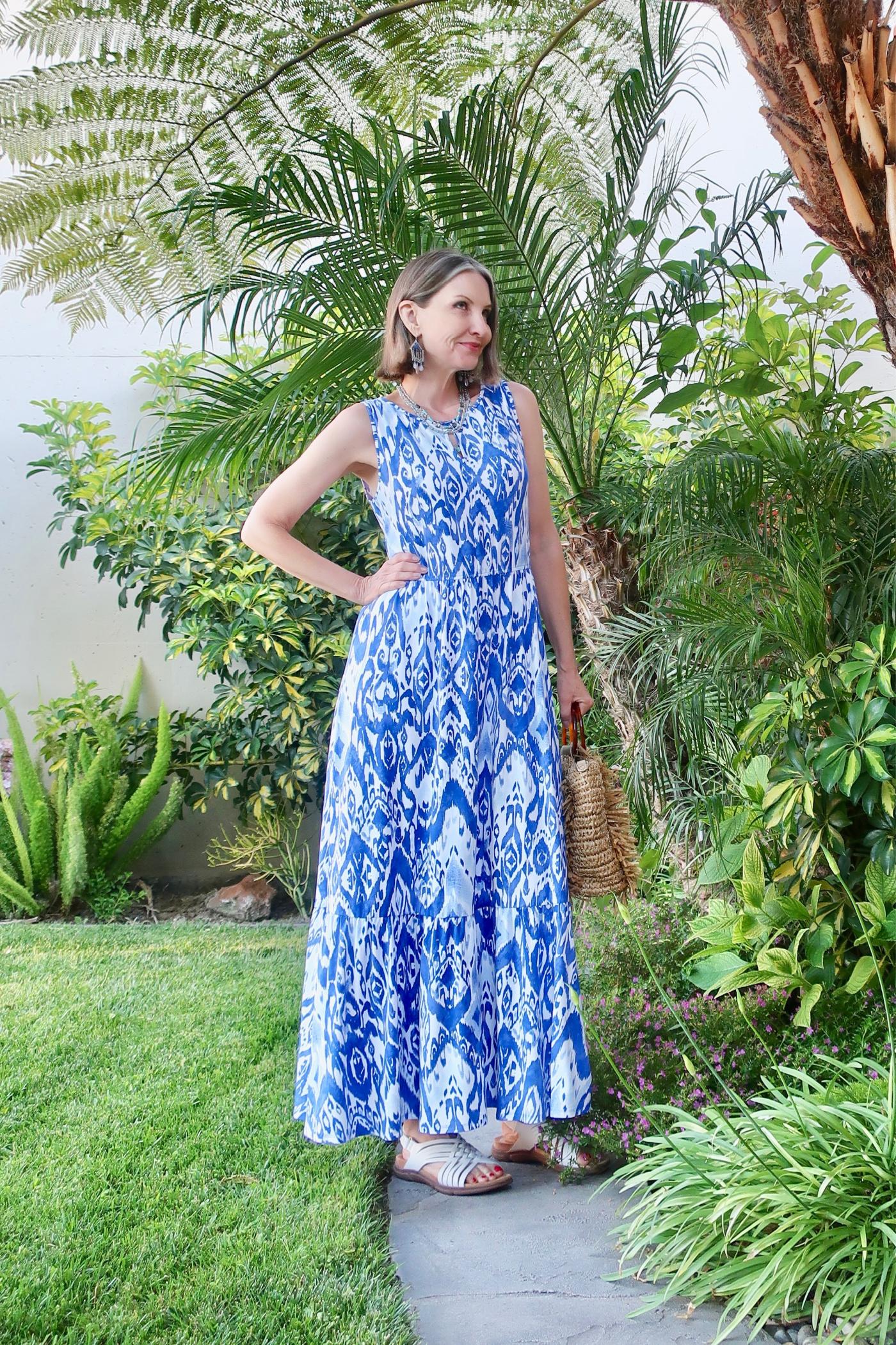 Ikat print maxi dress, vacation style over 40
