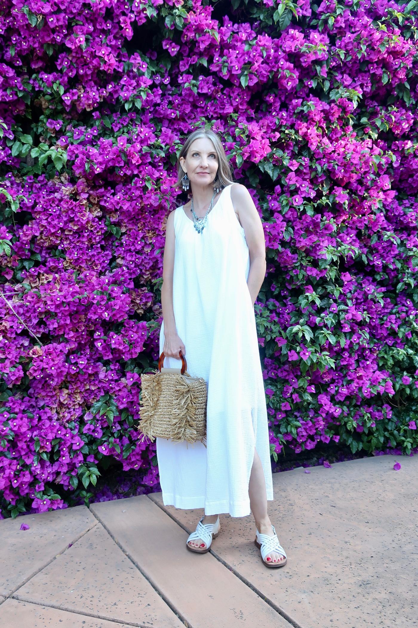 dreamy summer jewelry, gauze maxi dress