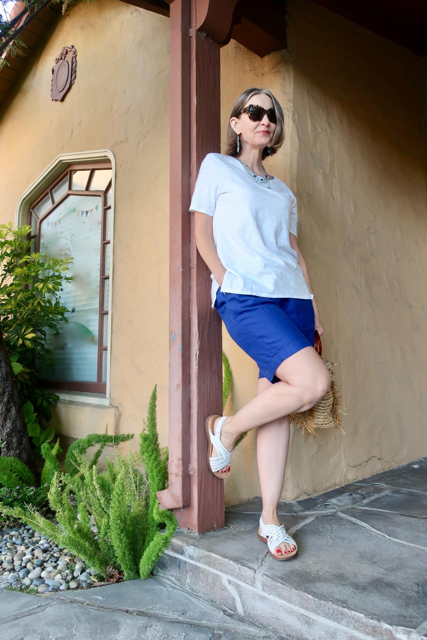 linen short and slub tee for summer, summerOOTD over 50
