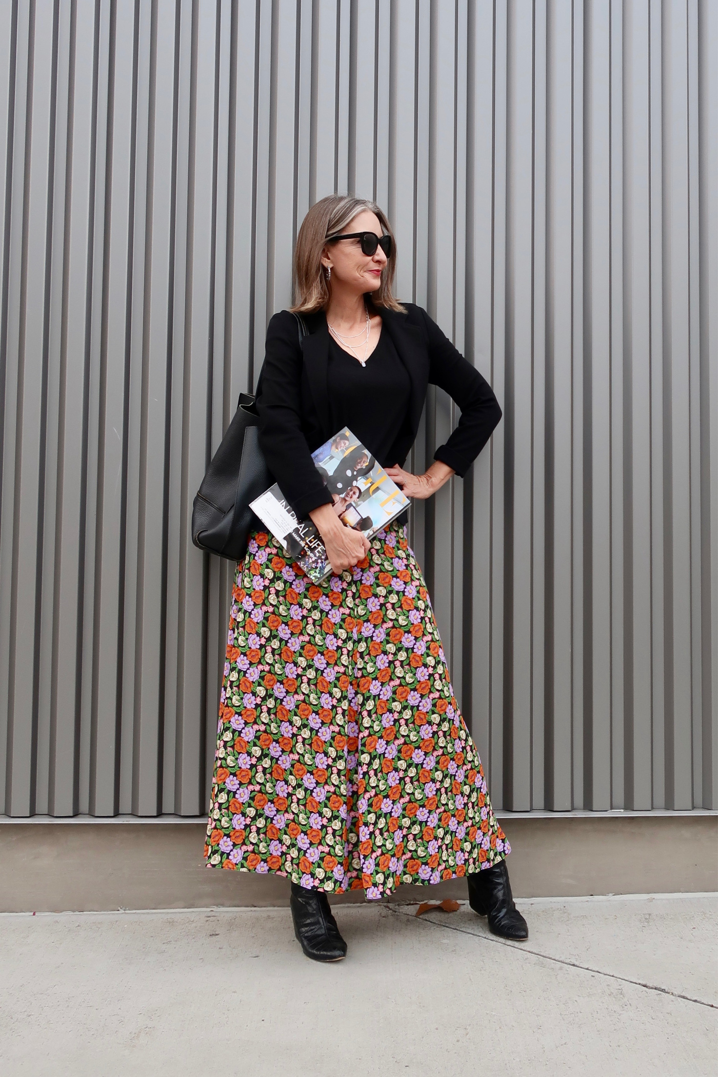 Teacher style, midi skirt, summer to fall transition