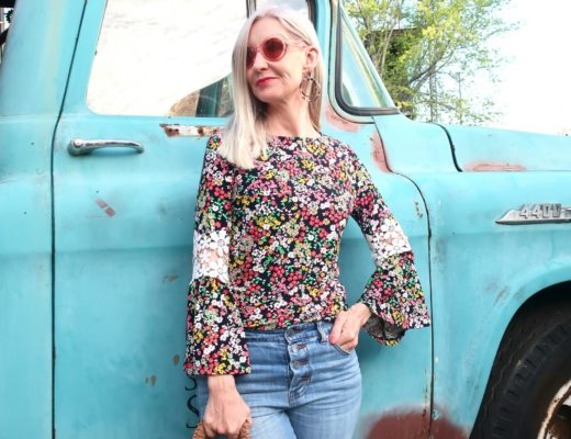 Floral Blouse with Crochet Detail Bell Sleeves