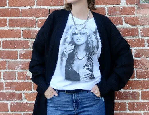 rock tee, lock and chain necklace, cozy cardigan